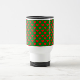 Large Red Christmas Hearts on Green Travel Mug