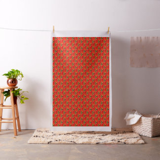 Large red floral cotton fabric