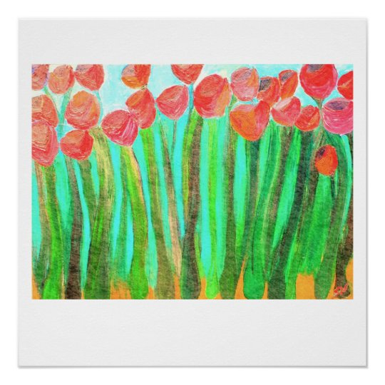 Large red flowers - 20 x 20 glossy print
