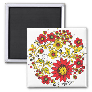 Large Red Flowers Hohloma Square Magnet