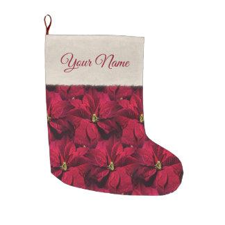 Large Red Poinsettias Large Christmas Stocking