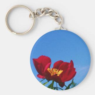 Large Red Poppy Photo Basic Round Button Keychain