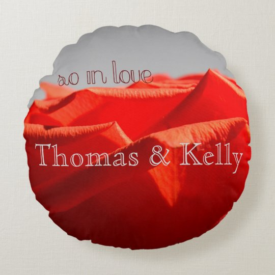 Large red romantic rose round throw pillow