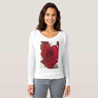Large red rose on a long sleeved t. t-shirt