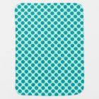 Large retro dots - aqua and turquoise baby blanket