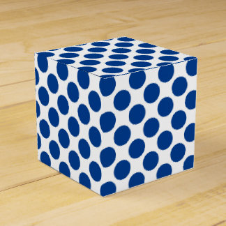 Large retro dots - cobalt blue and white wedding favor boxes