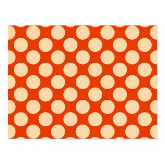 Large retro dots - pale orange and mandarin postcard