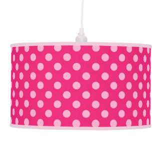 Large retro dots - pink on a hot pink background pendant lamp