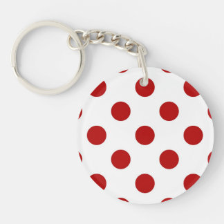Large retro dots - red and white Double-Sided round acrylic keychain
