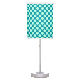 Large retro dots - turquoise and aqua table lamp