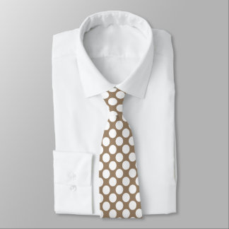 Large retro dots - white and taupe tan tie