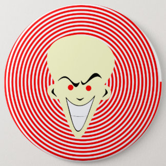 Large Retro Toon Optical Illusion Hypnotizer Guy 6 Inch Round Button