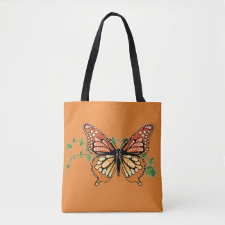 Large Rhinestone Monarch Butterfly Design Tote Bag