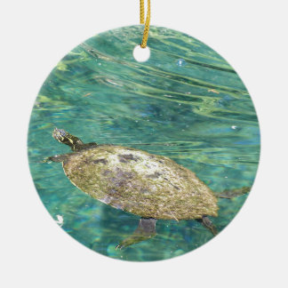 large river turtle swimming ceramic ornament