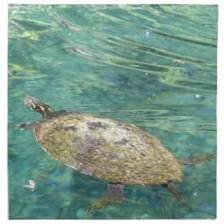 large river turtle swimming napkin