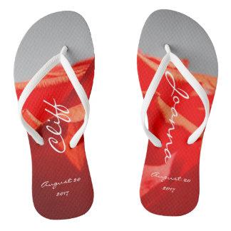 Large romantic red rose flip-flops flip flops