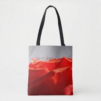 Large romantic red rose tote bag