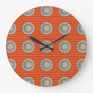 Large Round Clock with Orange Chevron