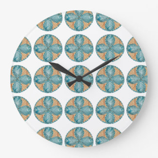 Large Round Clock with Turquoise Flower Design