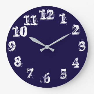 Large Round Navy Wall Clock