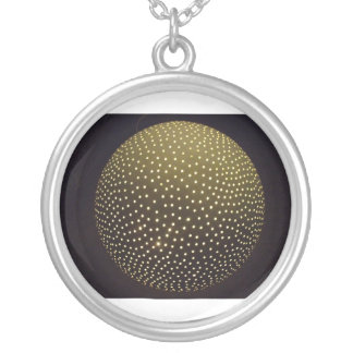 large round silver-plated pendant necklace
