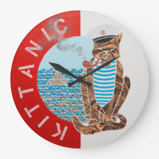 Large Round Wall Clock with Captain Cat