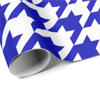 Large Royal Blue and White Houndstooth Wrapping Paper