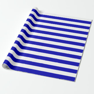 Large Royal Blue and White Stripes Wrapping Paper
