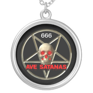 Large, Satanic, Silver Plated Round Necklace