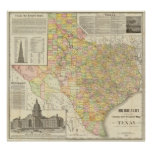 Large Scale County and Railroad Map Of Texas