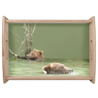 Large Serving Tray w/ grizzly bear and cub