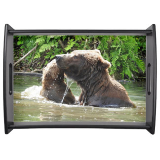 Large Serving Tray w/ grizzly mom and cub
