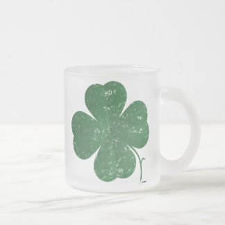 Large Shamrock - vintage style Frosted Glass Coffee Mug