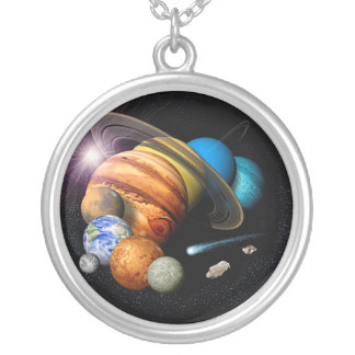Large Silver Plated Round Solar System Necklace