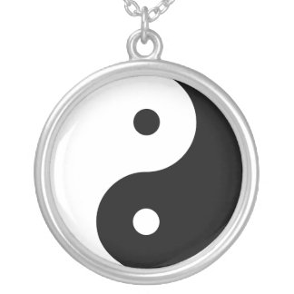 Large Silver Plated Round Yin Yang Necklace