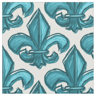 Large Sketch Fleur De Lis Pattern Dark Cyan Fabric