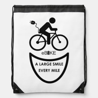 """Large smile every mile""  drawstring bags"