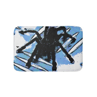Large spider on metal surface bath mat