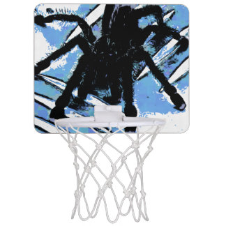 Large spider on metal surface mini basketball hoop