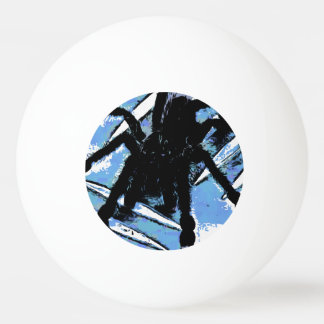 Large spider on metal surface ping pong ball