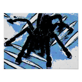 Large spider on metal surface poster