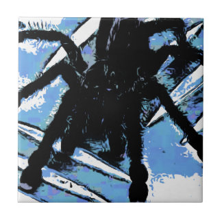 Large spider on metal surface tile