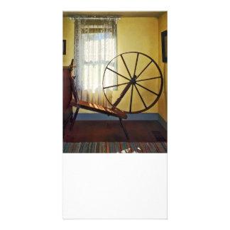 Large Spinning Wheel Near Lace Curtain Custom Photo Card
