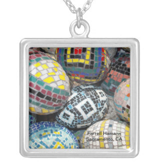 large square silver-plated pendant necklace