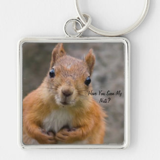 Large Square Squirrel Key Ring Silver-Colored Square Keychain