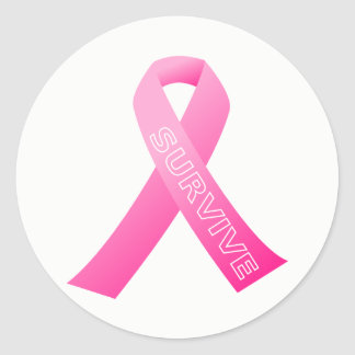 Large Stickers-Survive Pink Ribbon Classic Round Sticker