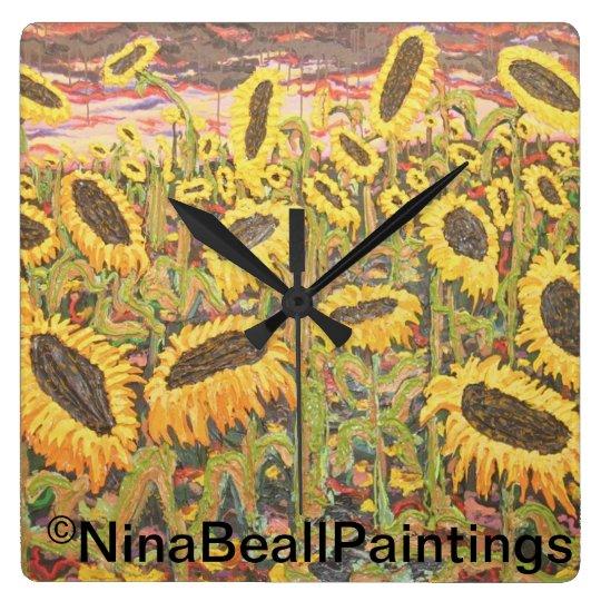 """Large Sunflowers"" by Nina Beall Clocks"