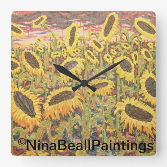 """""""Large Sunflowers"""" by Nina Beall Square Wall Clock"""