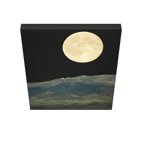 Large Supermoon over Mountain photo on canvas