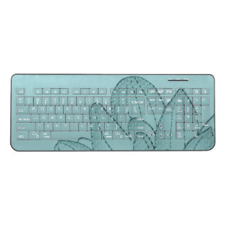 Large Teal Graphic Sunflower | Keyboard